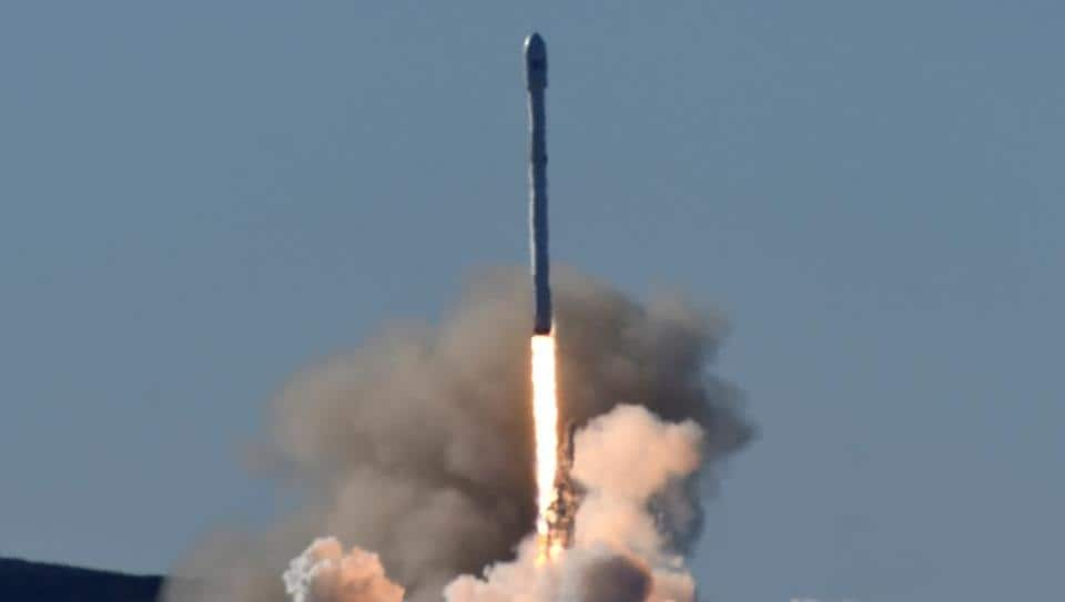 SpaceX Falcon rocket lifts off from Space Launch Complex 4E at Vandenberg Air Force Base, California, US, on Saturday.