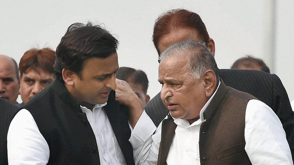 File photo of Uttar Pradesh CM Akhilesh Yadav with Samajwadi Party patriarch Mulayam Singh Yadav.