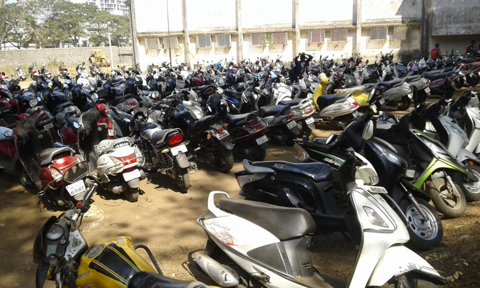 The parking lot at Birla College, where around 700 out of 9,500 students bring their motorbikes to college