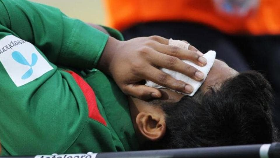 Mushfiqur Rahim, Bangladesh captain, is stretchered off after being hit in the face by the ball  during the first Test against New Zealand in Wellington.
