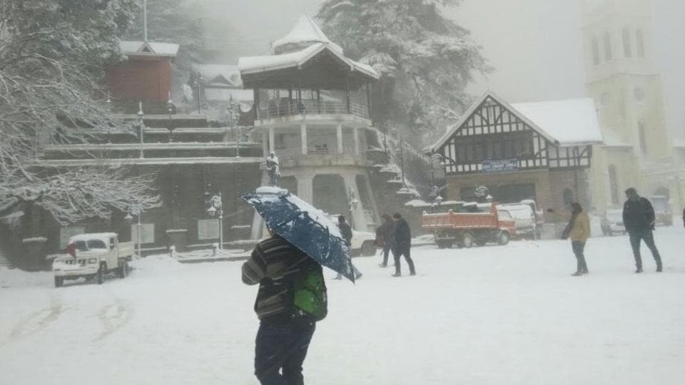 People in Shimla walked their way to office, as fresh snowfall  on Monday hampered the vehicular movement.