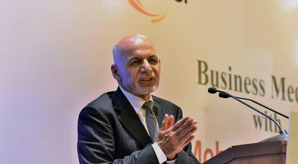 Afghan President Ashraf Ghani at a business meeting in New Delhi.