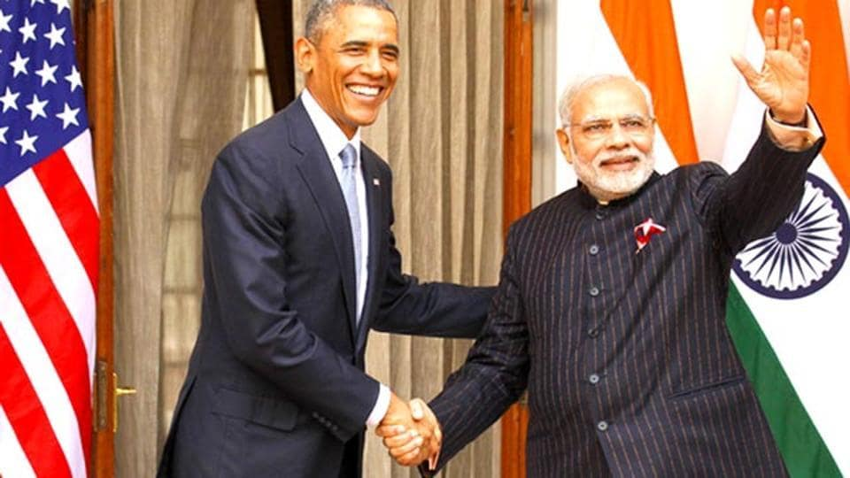 US President Barack Obama and Prime Minister Narendra Modi at Hyderabad House, in New Delhi.