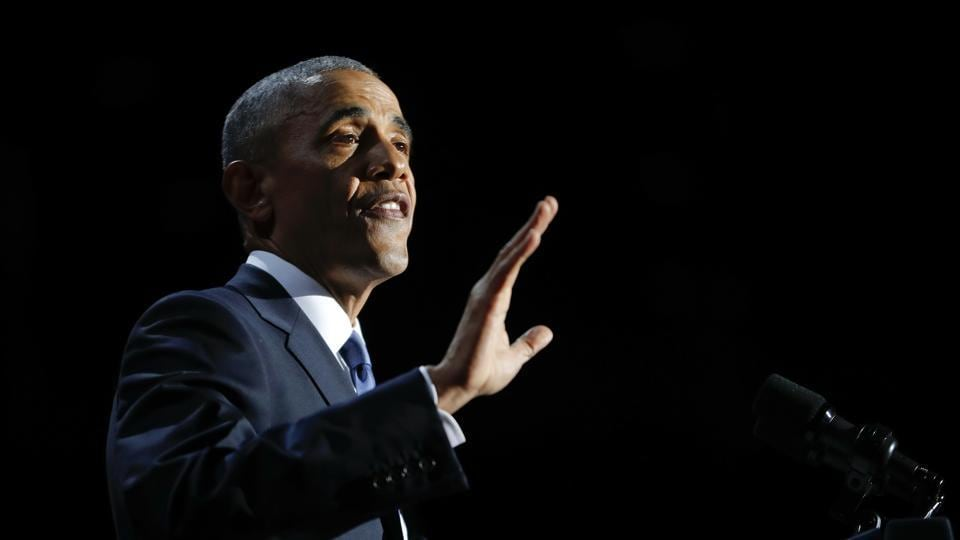 President Barack Obama speaks during his farewell address at McCormick Place in Chicago.