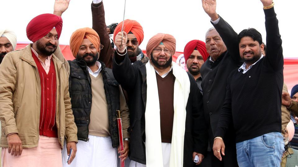 Punjab Congress chief Capt Amarinder Singh and other party leaders at a rally in Mehraj village in Bathinda on Sunday.
