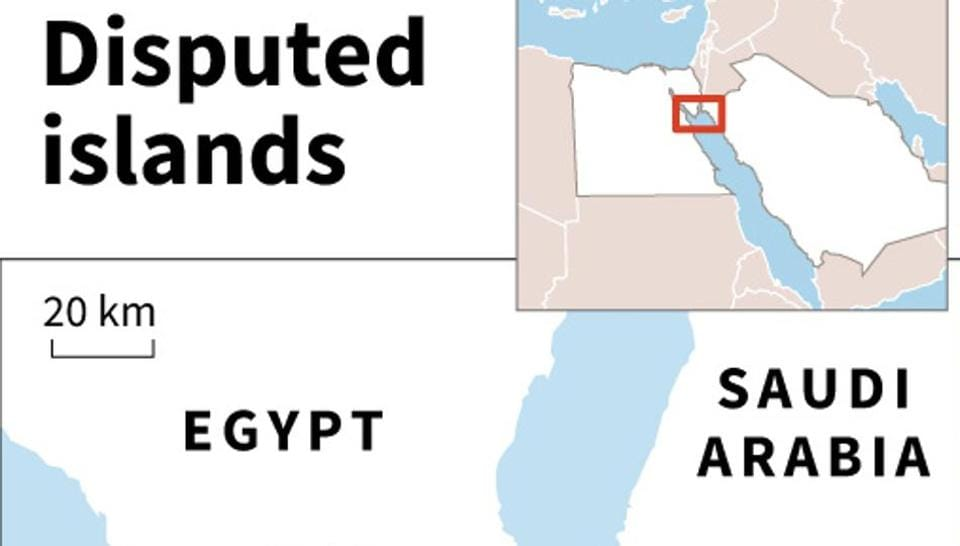 Map of Egypt's Sinai region and Saudi Arabia locating two islands, Tiran and Sanafir, caught up in a dispute between the two countries .