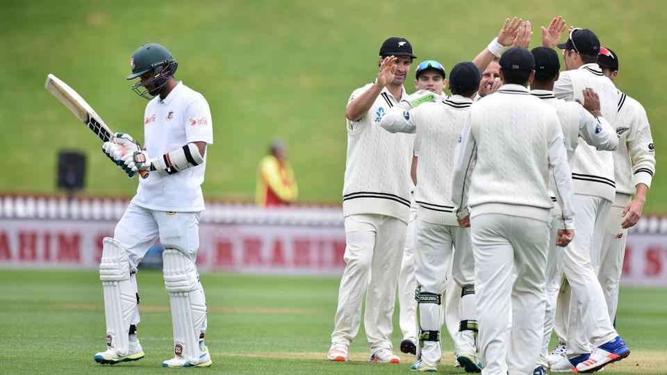 Bangladesh stretched New Zealand by posting a huge first innings total of 595 but caved in very easily in the second innings of the Wellington Test.