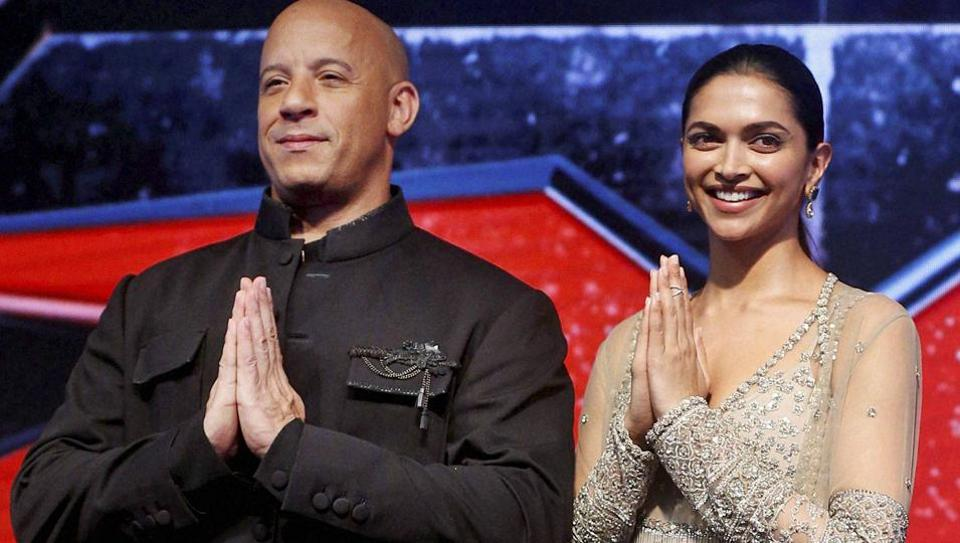 Hollywood actor Vin Diesel with actor Deepika Padukone during a press conference.