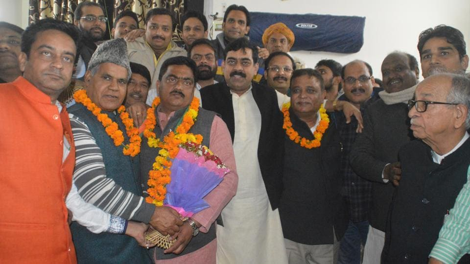 Dr Ramesh Chandra Tomar (wearing a cap), Ajit Tyagi (holding a bouquet) and Atul Garg (in centre, wearing a garland) have been given tickets to contest from Ghaziabad district.