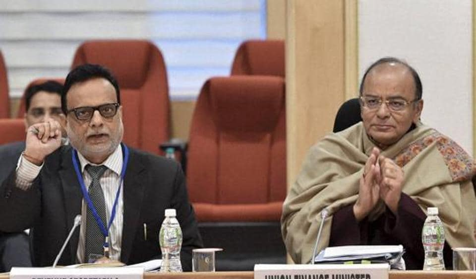 Finance Minister Arun Jaitley chairing the ninth GST Council Meeting, at Vigyan Bhawan in New Delhi on Monday.