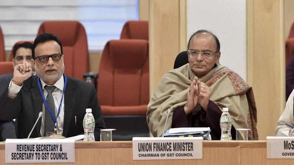 Union finance minister Arun Jaitley chairs the ninth GST Council Meeting at Vigyan Bhawan in New Delhi on Monday.