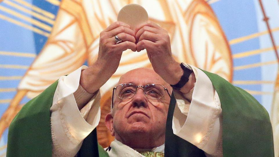 Pope Francis leads a mass at the Roman parish of Santa Maria a Setteville di Guidonia on the outskirts of Rome, Italy.