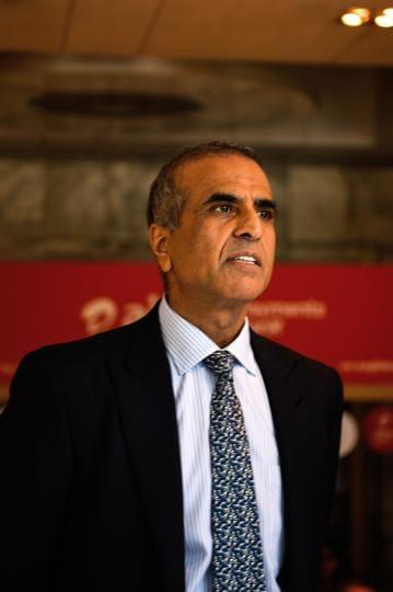 Founder and Chairman of Bharti Enterprises, Sunil Bharti Mittal looks on during the launch of Airtel payment banks