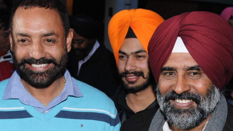 Former Akali MLA Pargat Singh with his supporters at his residence in Jalandhar on Sunday.