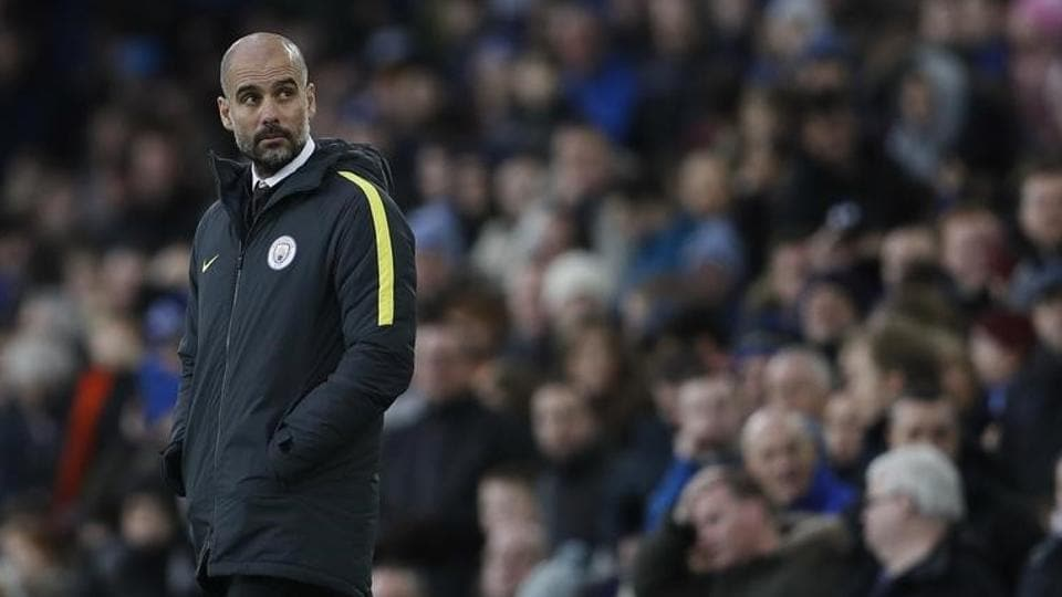 Manchester City coach Pep Guardiola cut a gloomy figure during the Premier League loss against Everton on Sunday.