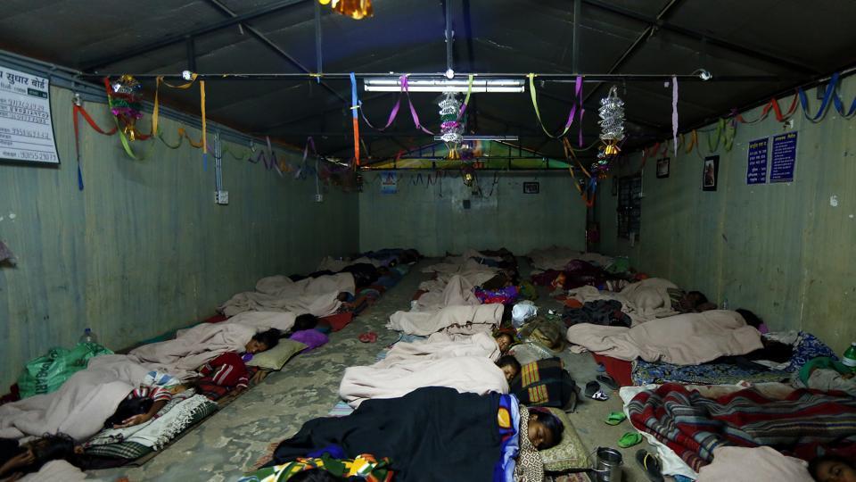 Homeless people at a night shelter at Jama Masjid, old Delhi. (File Photo)