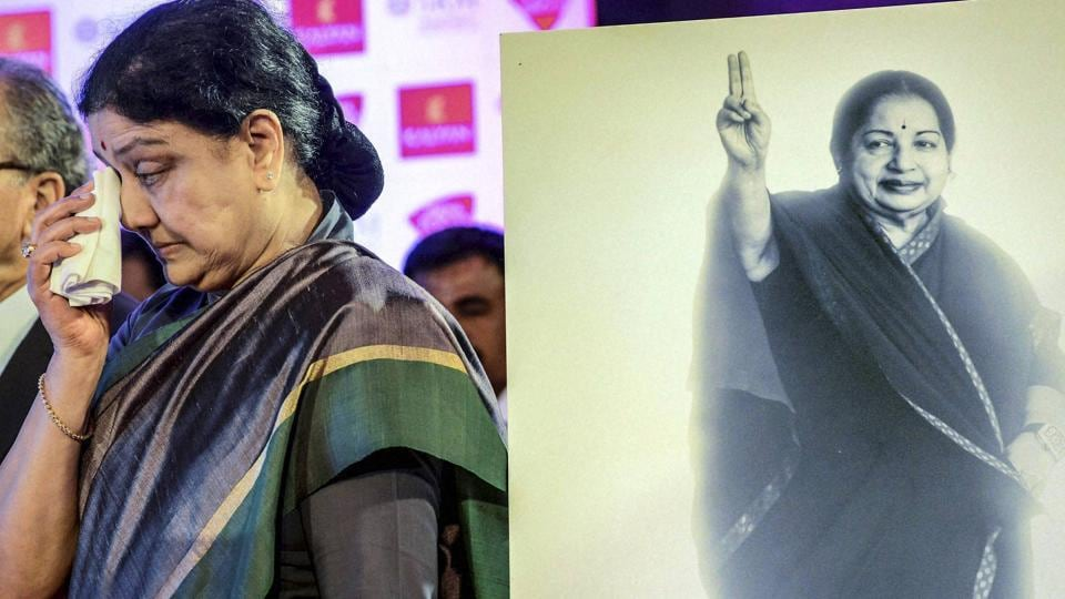 AIADMK general secretary VK Sasikala next to a portrait of Jayalalithaa at the India Today Conclave South 2017 in Chennai.