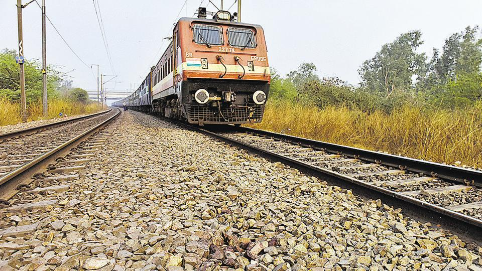 The spot where two boys were killed while performing stunts in front of a train near the Akshardham railway track in New Delhi on Monday.