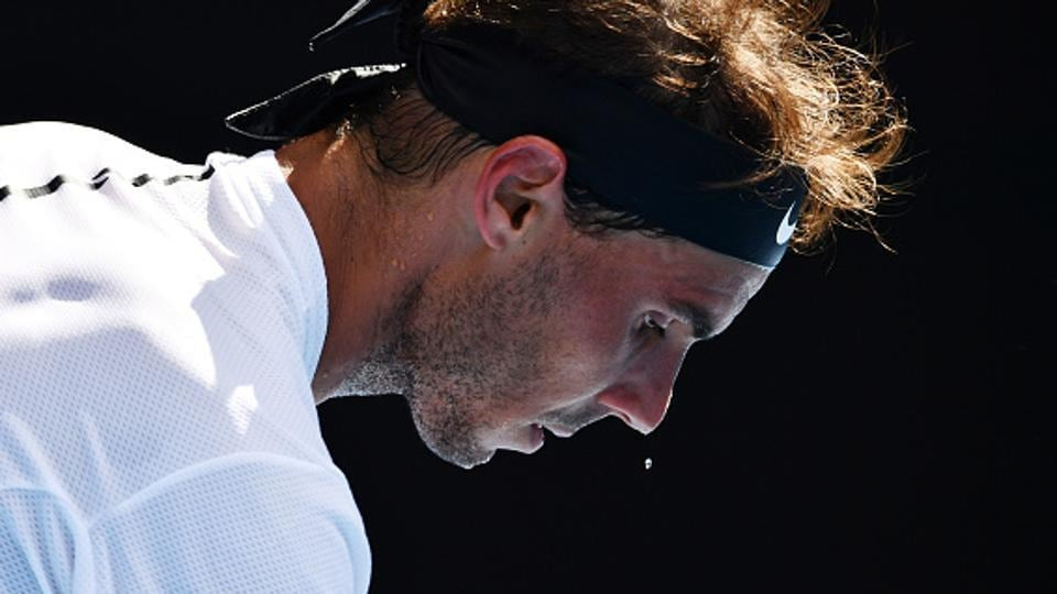 Rafael Nadal spent just a little over 2 hours in his 6-3, 6-4, 6-4 win over Florian Mayer of Germany in the Australian Open. But, thanks to the soaring mercury, one has to say, he did sweat it out.  (Getty Images)