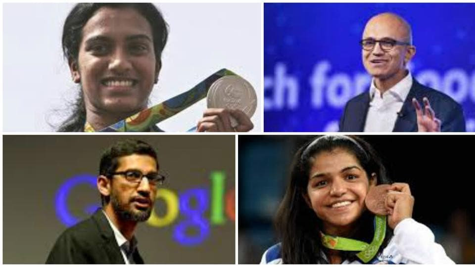 Olympians PV Sindhu and Sakshi Malik, and CEO of Google Sundar Pichai, and Microsoft head Satya Nadella are among the Padma awardees this year.