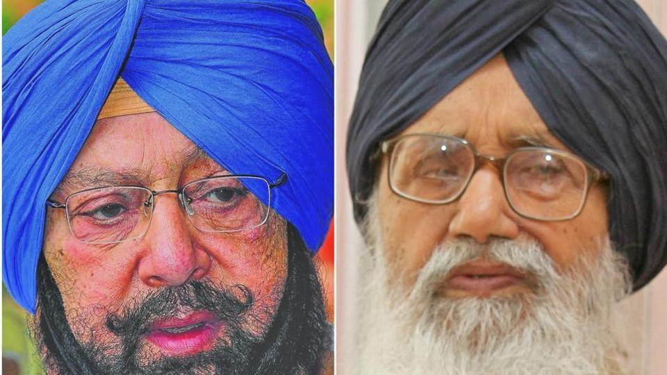 Punjab Congress chief Captain Amarinder Singh and Punjab chief minister Parkash Singh Badal.