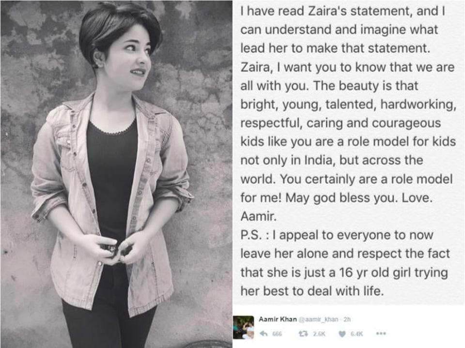 Dangal child-actor Zaira Wasim is getting widespread support from political leaders and Bollywood bigwigs after she was trolled for her Facebook post.