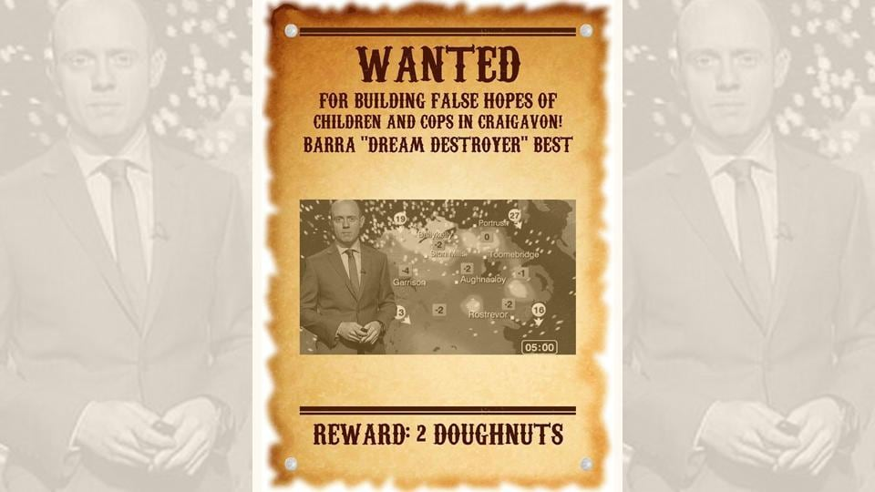 A reward of two doughnuts has been offered in the poster for information leading to his capture.