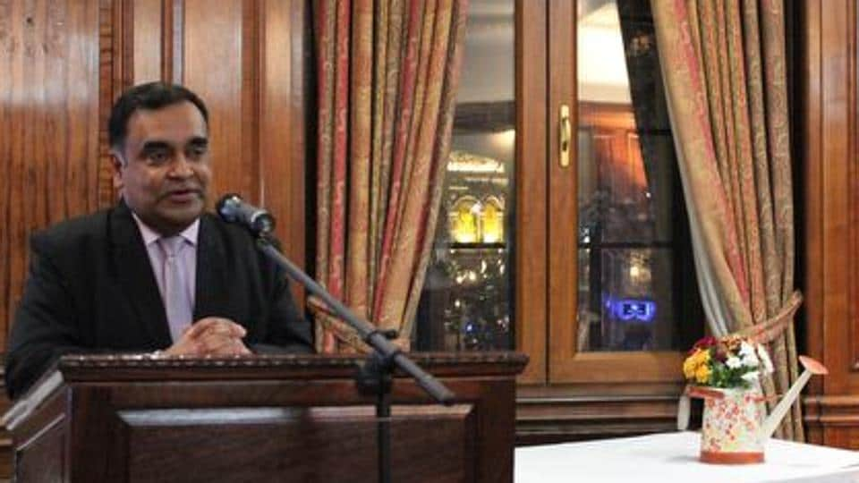 YK Sinha, Indian high commissioner to the UK, addresses media representatives at the Nehru Hall in India House, London, on Monday.