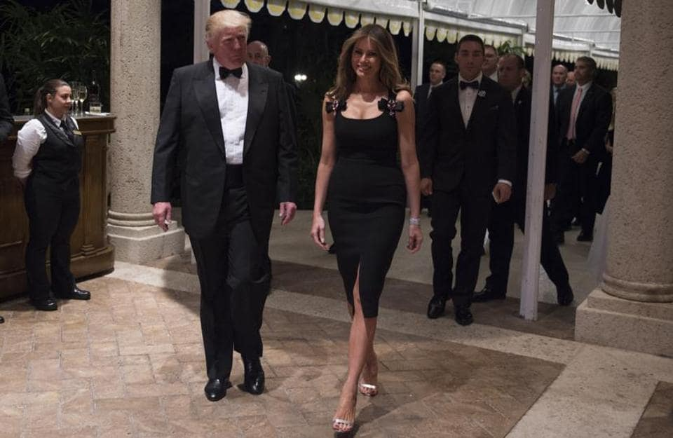 The next American President Donald Trump and his wife Melania in Dolce & Gabbana on New Year's Eve.