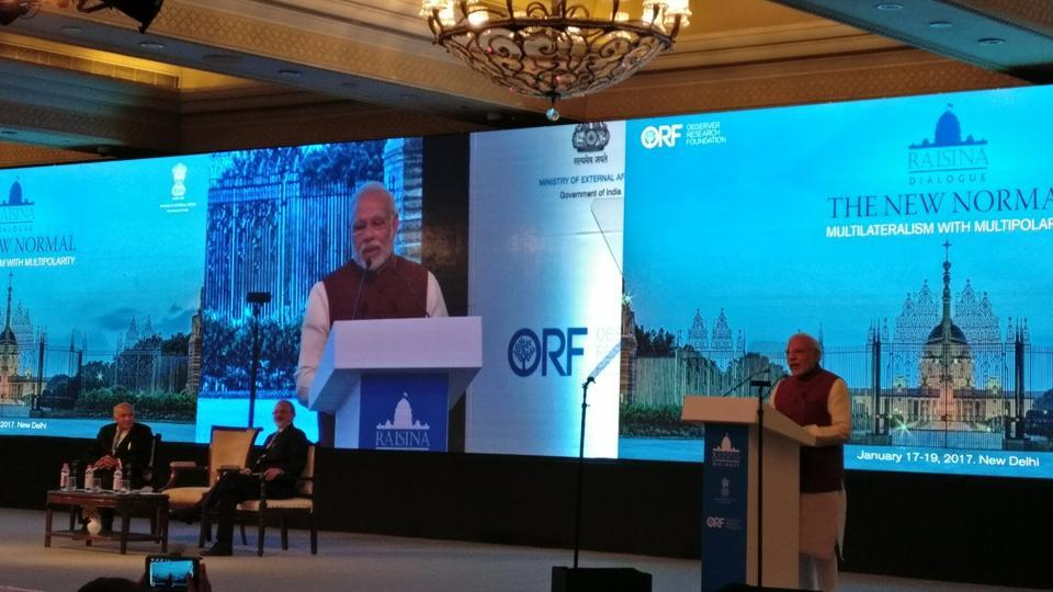 PM Modi speaking at the second edition of the Raisina Dialogue in New Delhi on Tuesday.