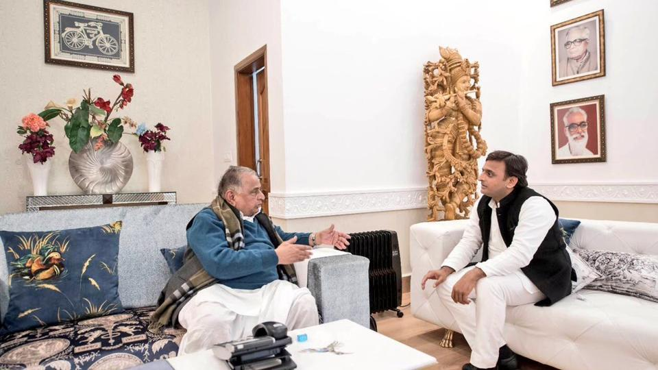 Firmly in control of the Uttar Pradesh's ruling party, Akhilesh, met Mulayam at his Lucknow residence on Tuesday, their second meeting after the election commission's decision.