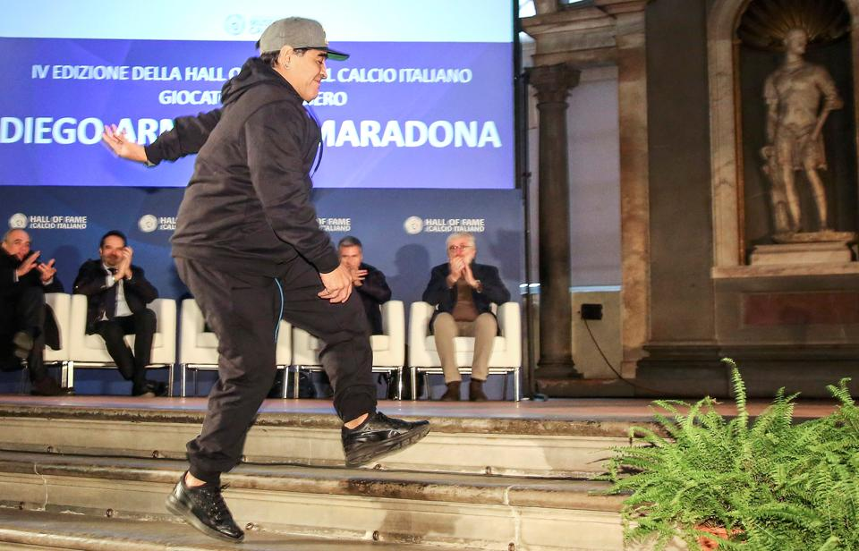 Maradona is in a jovial mood on the momentous occasion. (REUTERS)