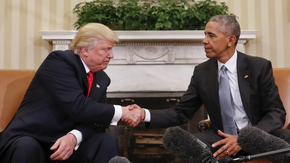 US President Barack Obama and president-elect Donald Trump shake hands in the Oval Office of the White House.  Trump's transition period, between the November 8 election of the new president of the United States, and his inauguration into office on January 20, has been very different from the preceding one in 2009.