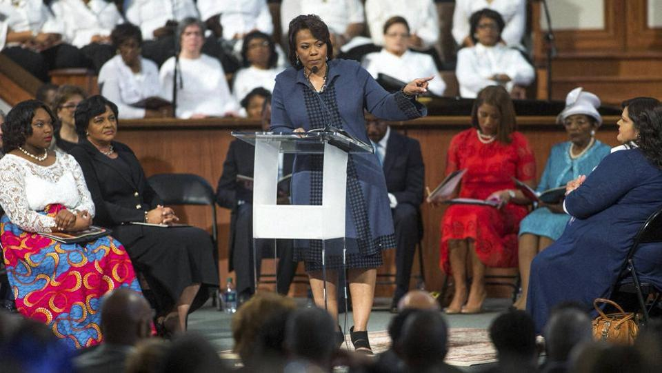 Bernice King, daughter of the late Rev. Martin Luther King Jr., speaks during the MLK Jr. holiday commemorative service at Ebenezer Baptist Church, where the King preached. (AP/PTi)