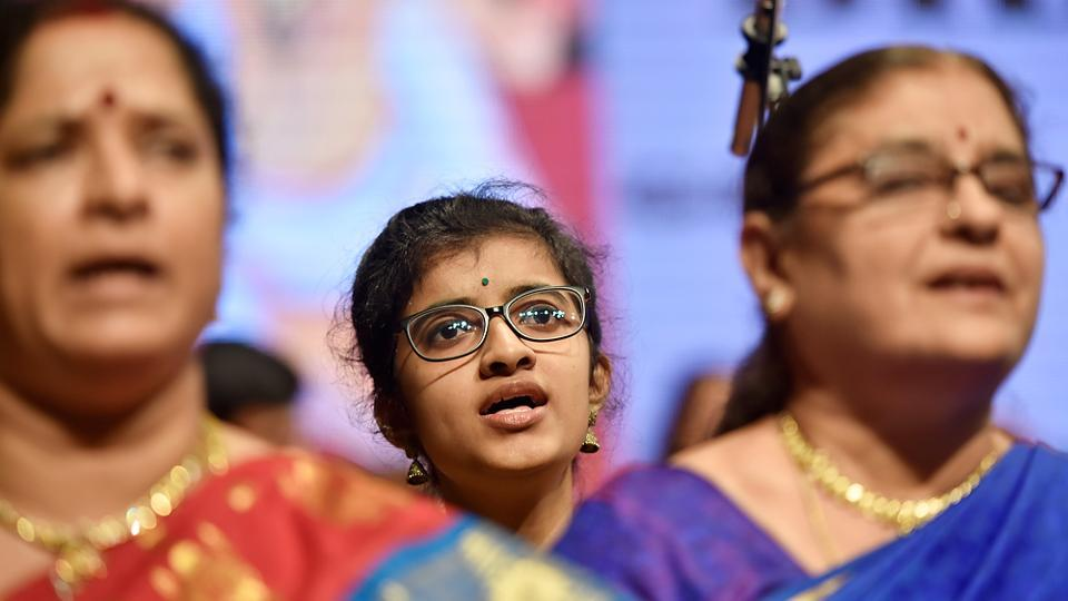 Vineeta Sethuram,16, was the youngest musician in the group. (Anshuman Poyrekar/HT PHOTO)