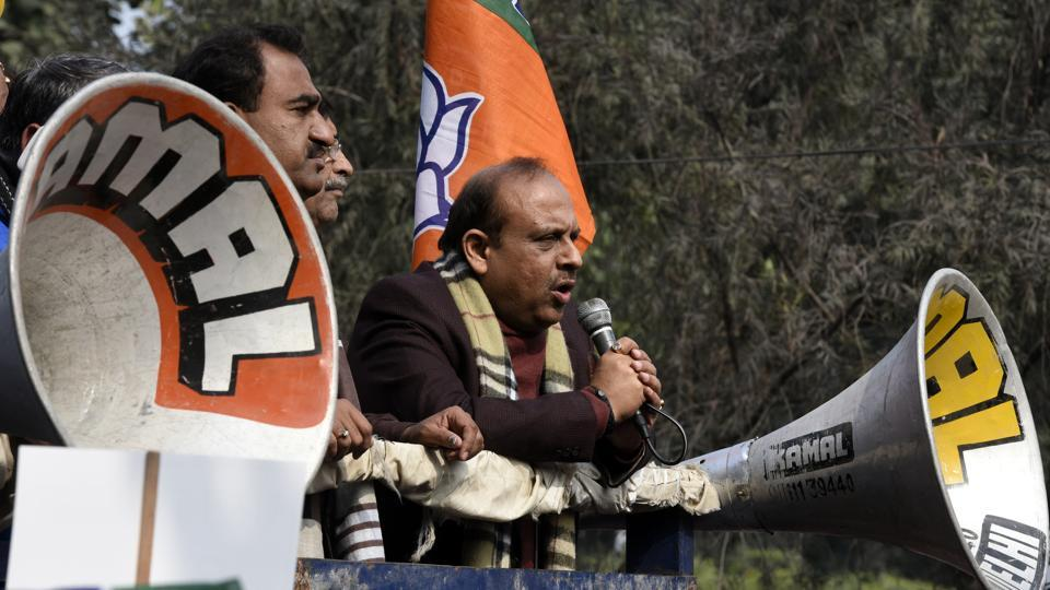 BJP's Vijender Gupta in a protest outside the Assembly.