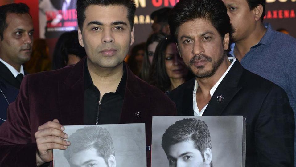 Shah Rukh Khan and Karan Johar during the launch of An Unsuitable Boy in Mumbai. (PTI)