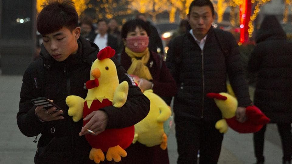 People carry rooster dolls in Beijing on Monday, to celebrate the Lunar New Year on Jan 28 this year. 2017 is the Year of the Rooster in the Chinese calendar. (Ng Han Guan / AP)