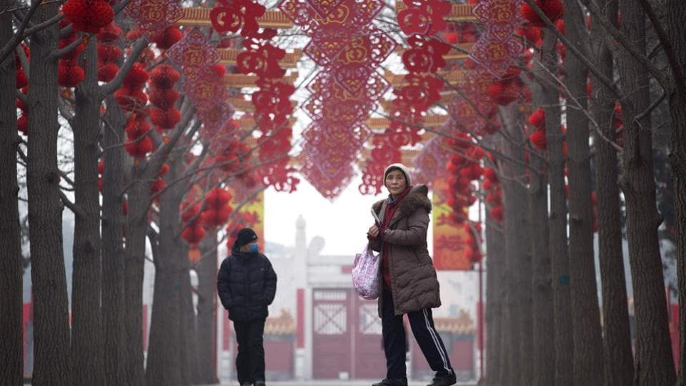 A woman visits a park in Beijing on Tuesday. Chinese New Year, known locally as the spring festival, falls on January 28 this year.  (WANG Zhao / AFP)