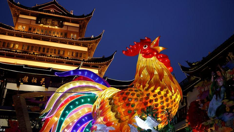 A giant lantern depicting a rooster is seen ahead of spring festival at Yuyuan Garden in Shanghai of China on Tuesday. (Aly Song / Reuters)