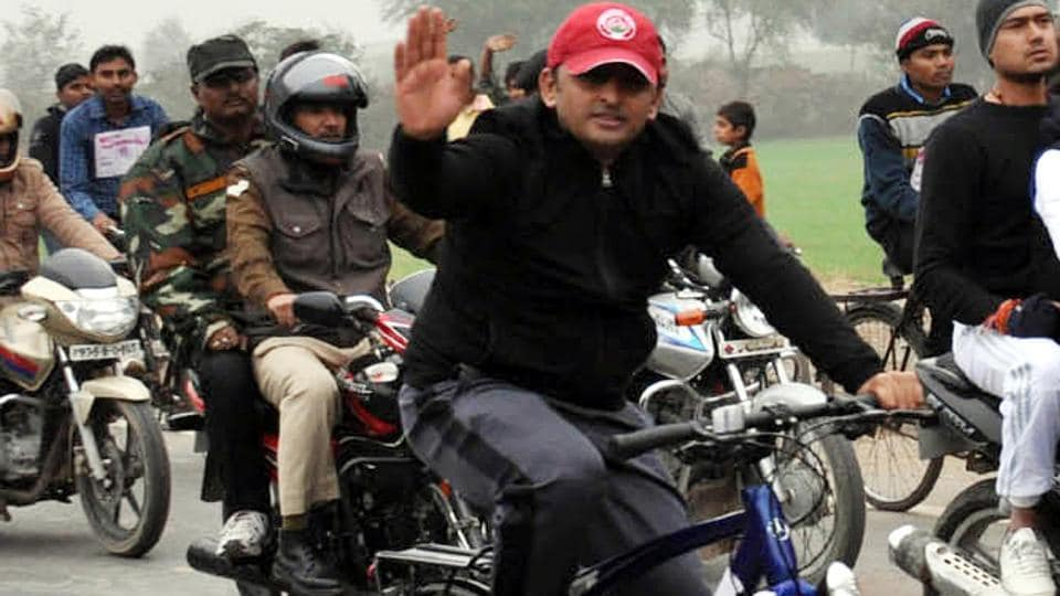 Chief minister Akhilesh Yadav rides a bicyle, the SP's poll symbol. The Election Commission ruled in favour of the CM in the family fued within the Samajwadi Party.