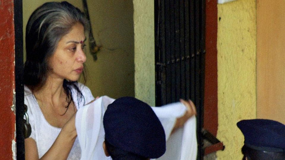 Indrani Mukerjea attends the post-death rituals of her father in Mumbai.