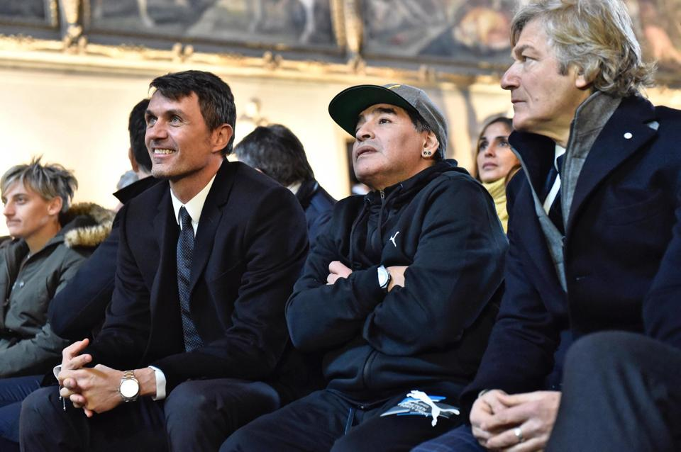 Maldini (left) had said that Maradona was one of his toughest opponents. (AP)