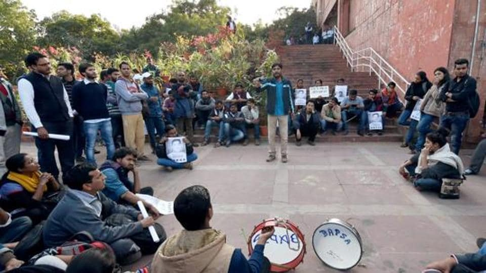 Jawaharlal Nehru University onMonday witnessed protests against an ABVP-organised event on Kashmir.