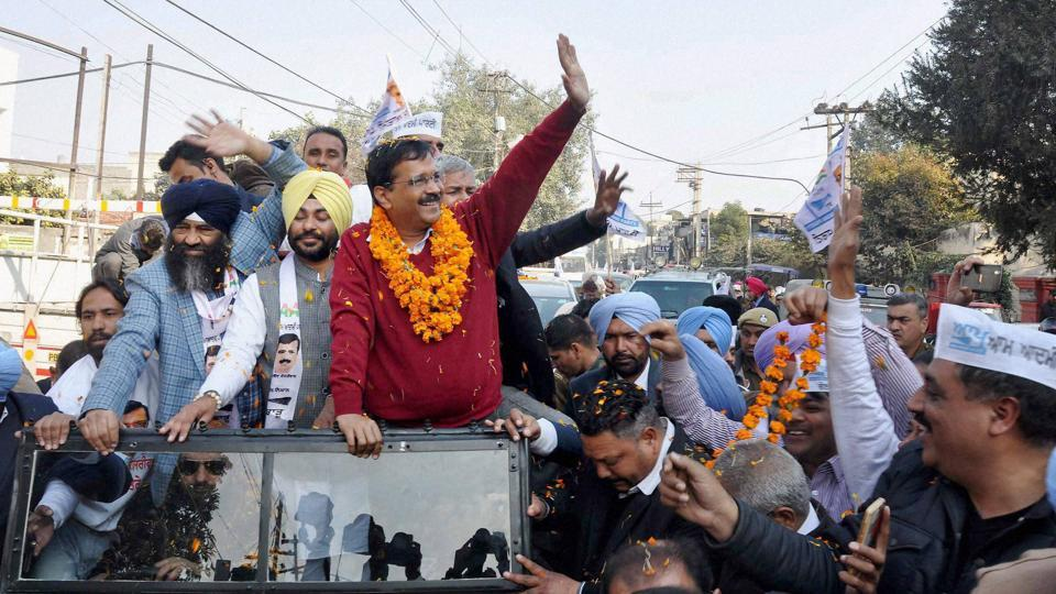 Aam Aadmi Party convener and Delhi CMArvind Kejriwal during a road show for the upcoming Punjab assembly election in Jalandhar on Friday.