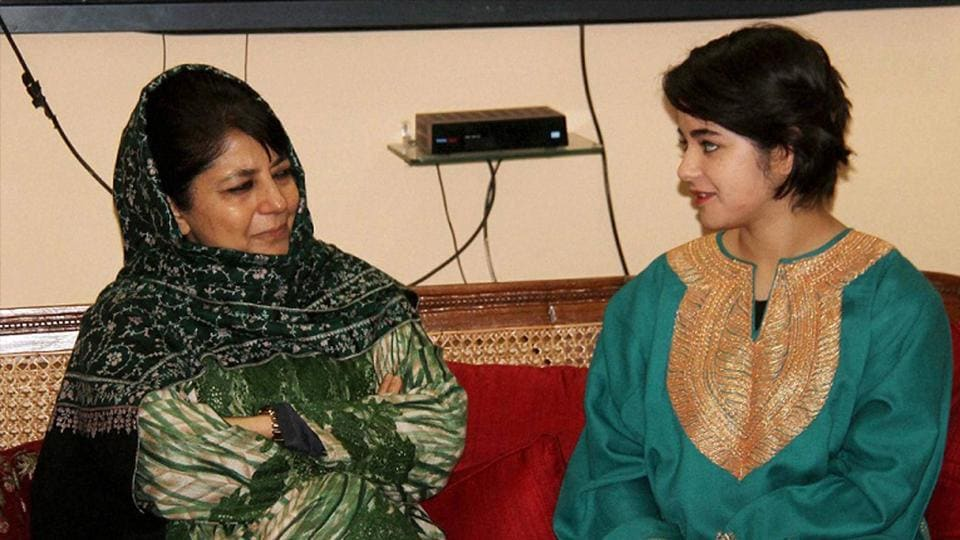 Jammu and Kashmir CM Mehbooba Mufti with Zaira Wasim Khan, the girl from the Valley who played the role of wrestler Geeta Phogat in 'Dangal', at Raj Bhavan in Jammu on Saturday.