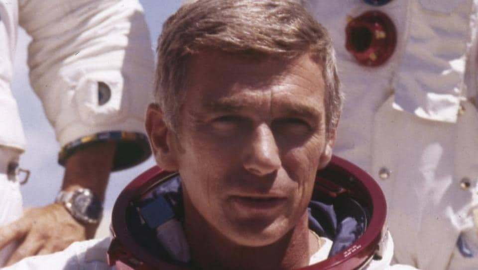 Nasa, US Navy commander and astronaut for the upcoming Apollo 17, Eugene Cernan, is pictured in his space suit.
