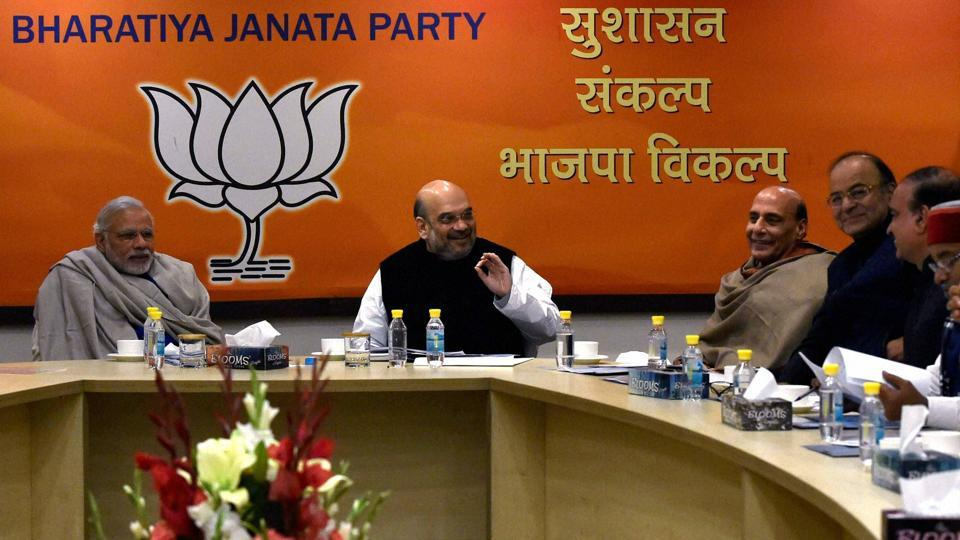 Prime Minister Narendra Modi, BJP President Amit Shah, Home Minister Rajnath Singh and other senior leaders during the Central Election Committee (CEC) meeting for Uttar Pradesh state elections at BJP headquarters in New Delhi.