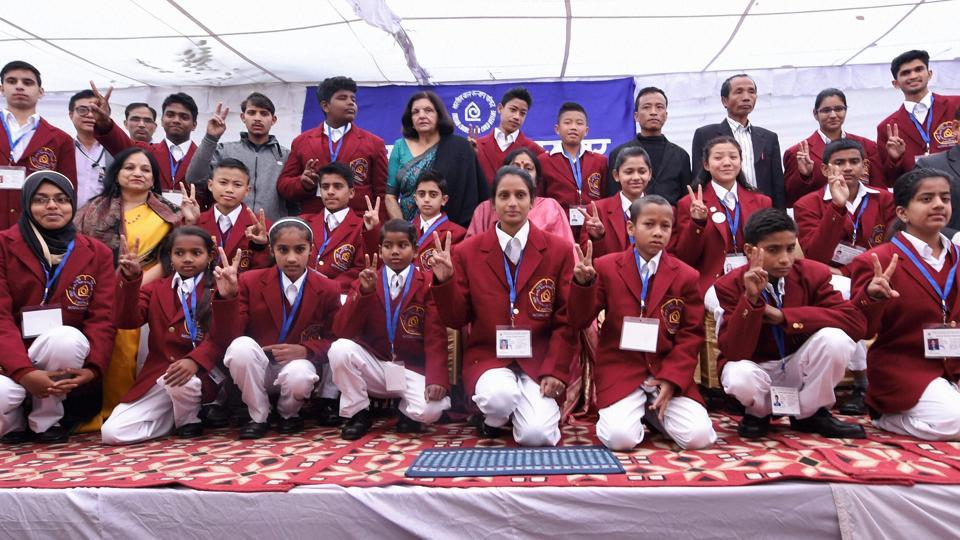 Children, who will be honoured with National Bravery Awards 2016, pose for a group photo during a press conference in New Delhi. (PTI Photo)