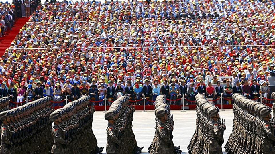 Soldiers of China's People's Liberation Army (PLA) march during the military parade to mark the 70th anniversary of the end of World War II in Beijing.